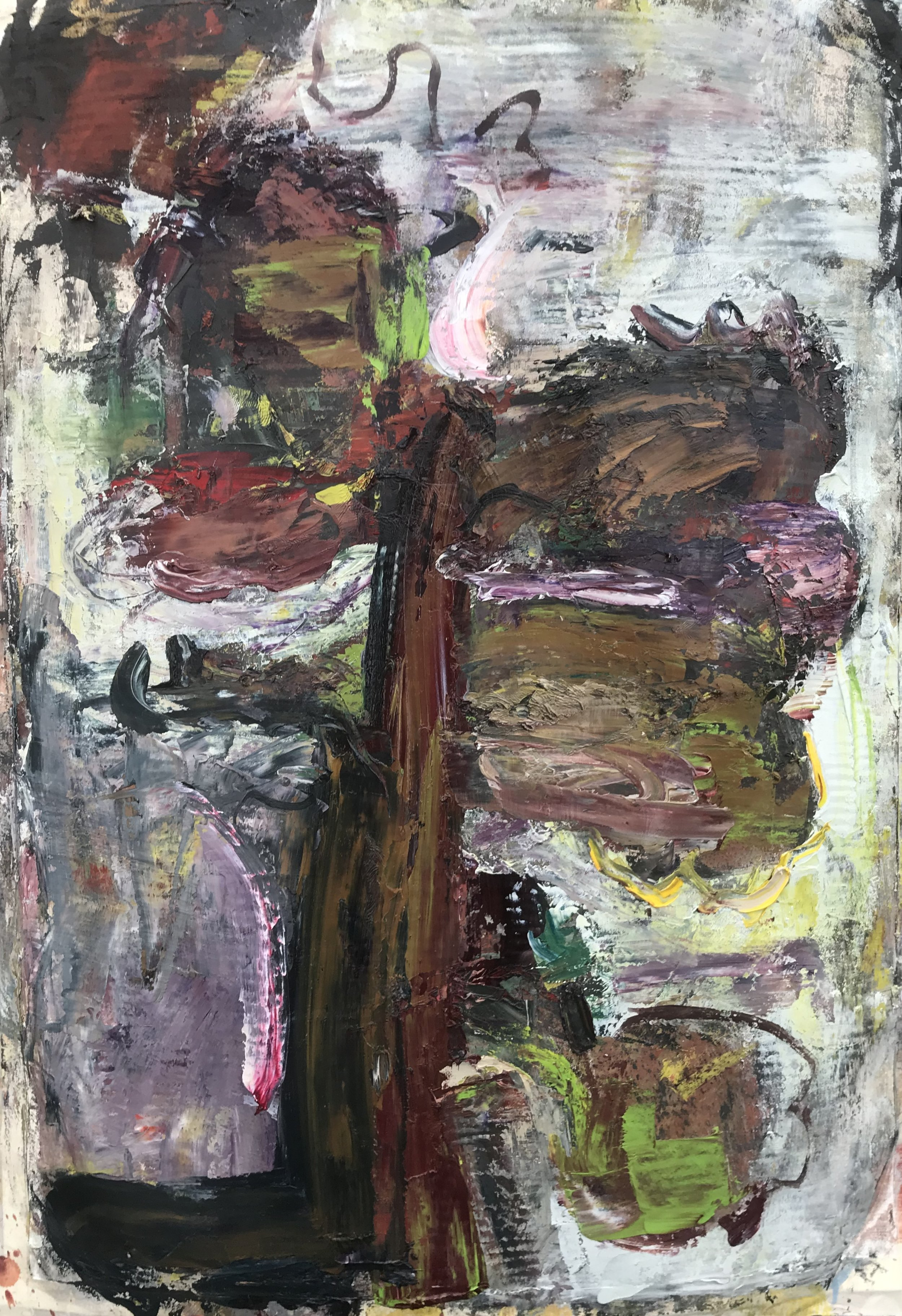 """Small Painting 38C,  oil on Evolon paper 30""""H X 22""""W (2018)"""