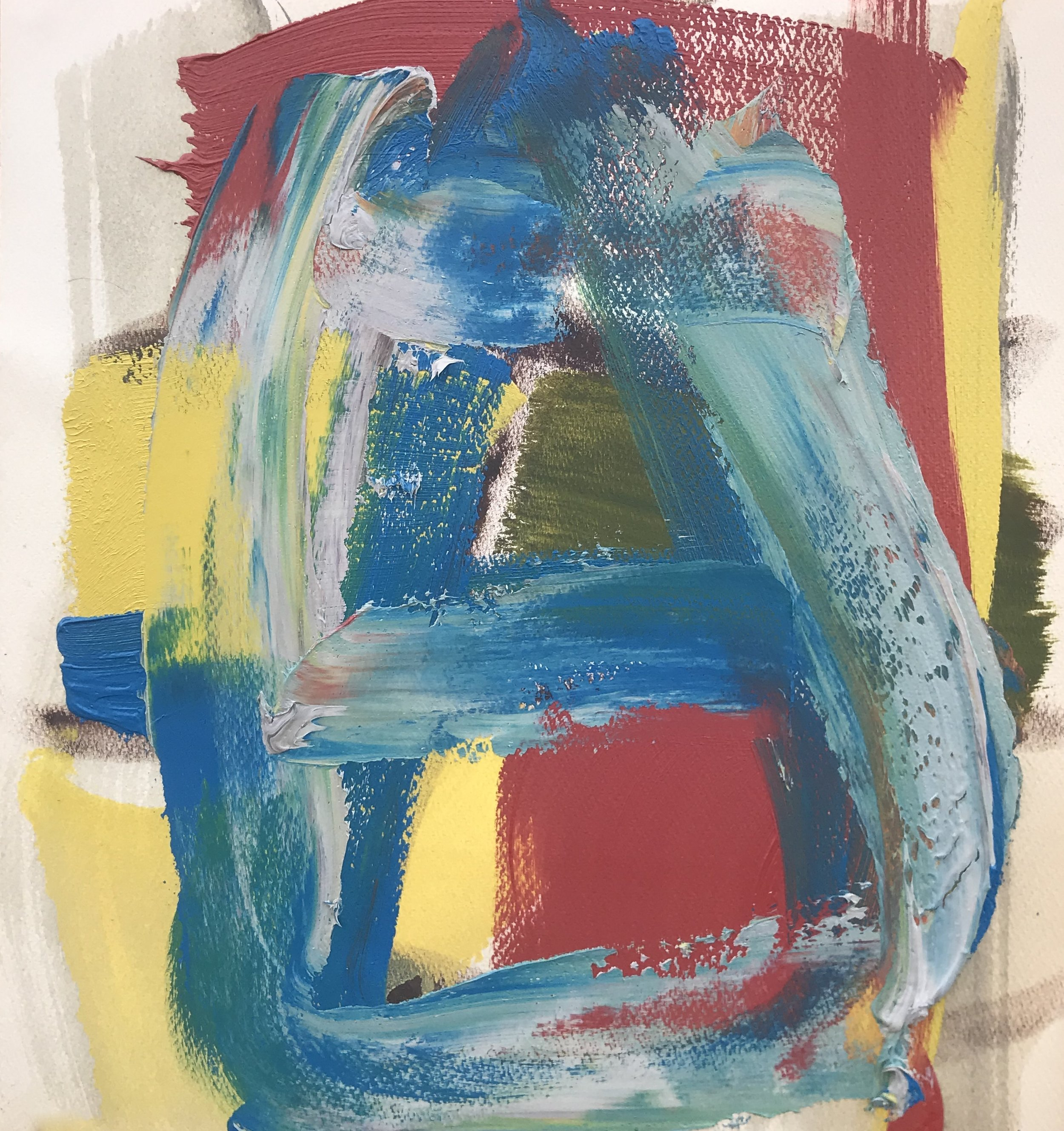 "Small Painting 17B,  oil on paper 15""H X 14""W (2019)"