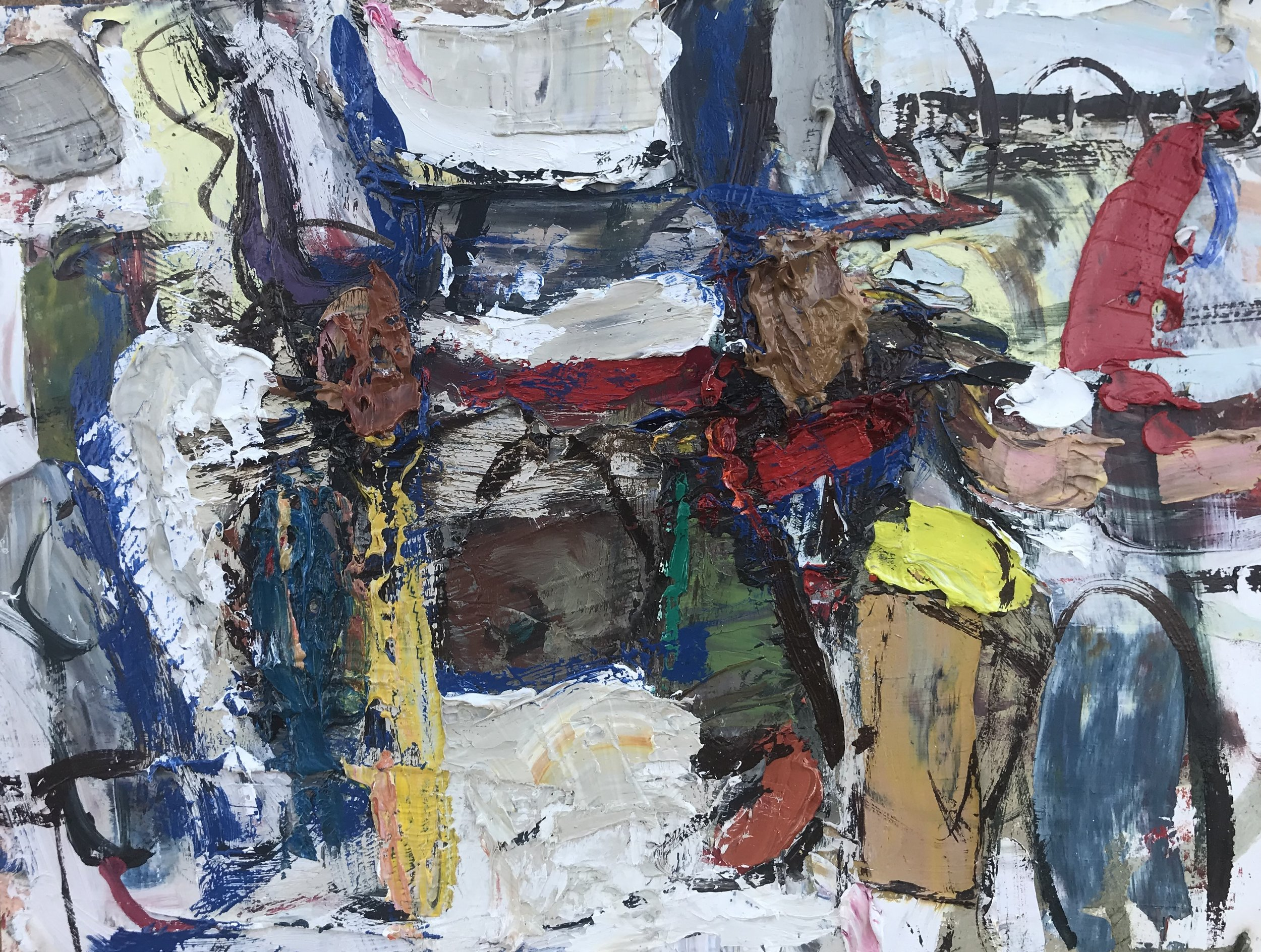 "Small Painting 68A,  oil on paper 9""H X 12""W (2019)"