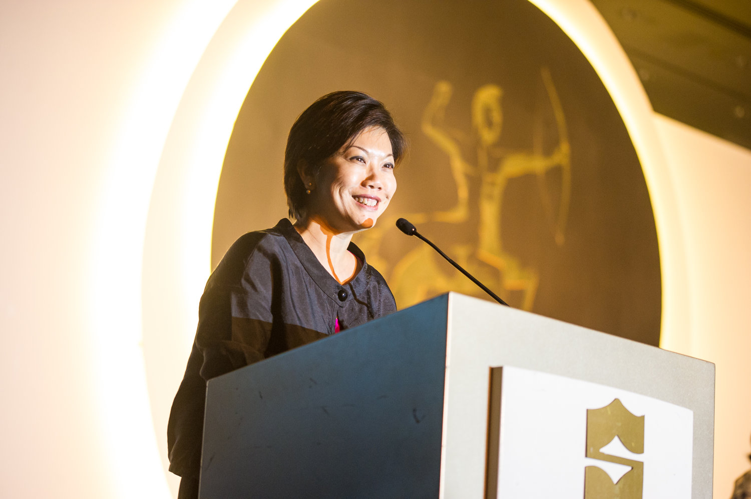 Ms. Irene Ng, VP of Marketing, delivering acceptance speech at the Awards Ceremony