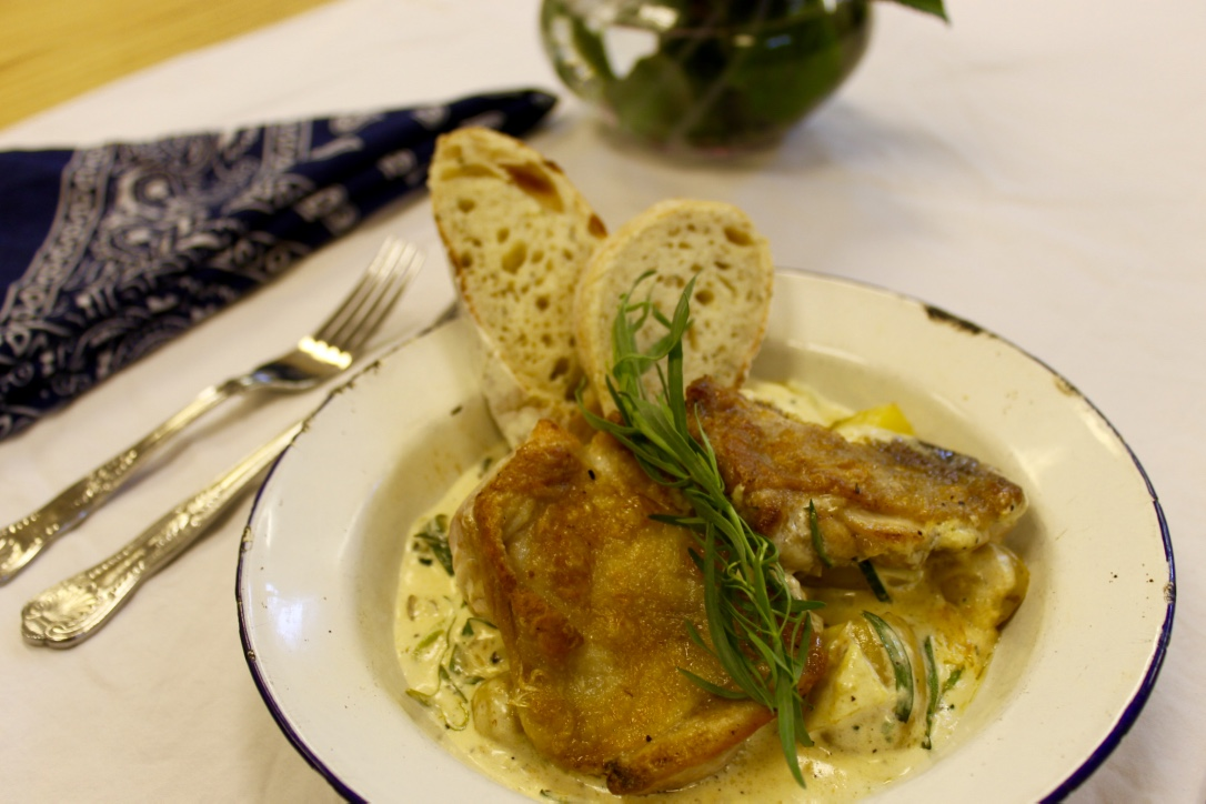 Chicken and mushroom in cream sauce with tarragon - I think I drank a pint of the sauce by the time we finished