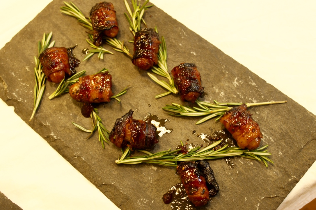 Cranberry and rum glazed pigs in blankets