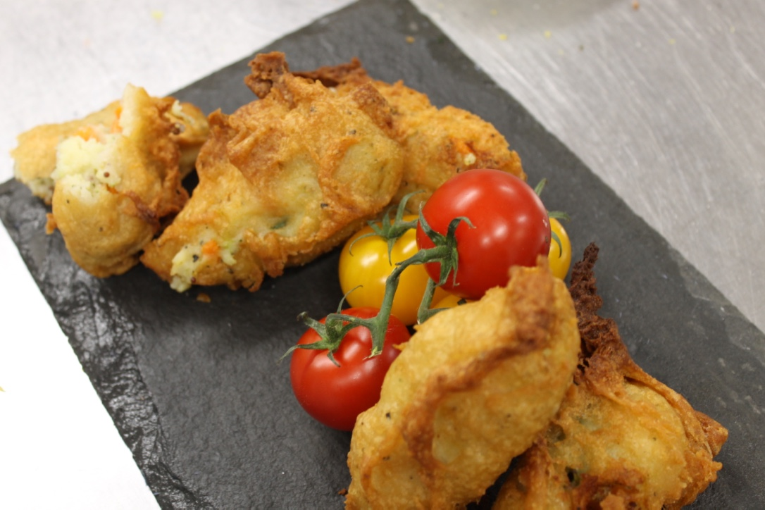 Cider battered bubble and squeak...