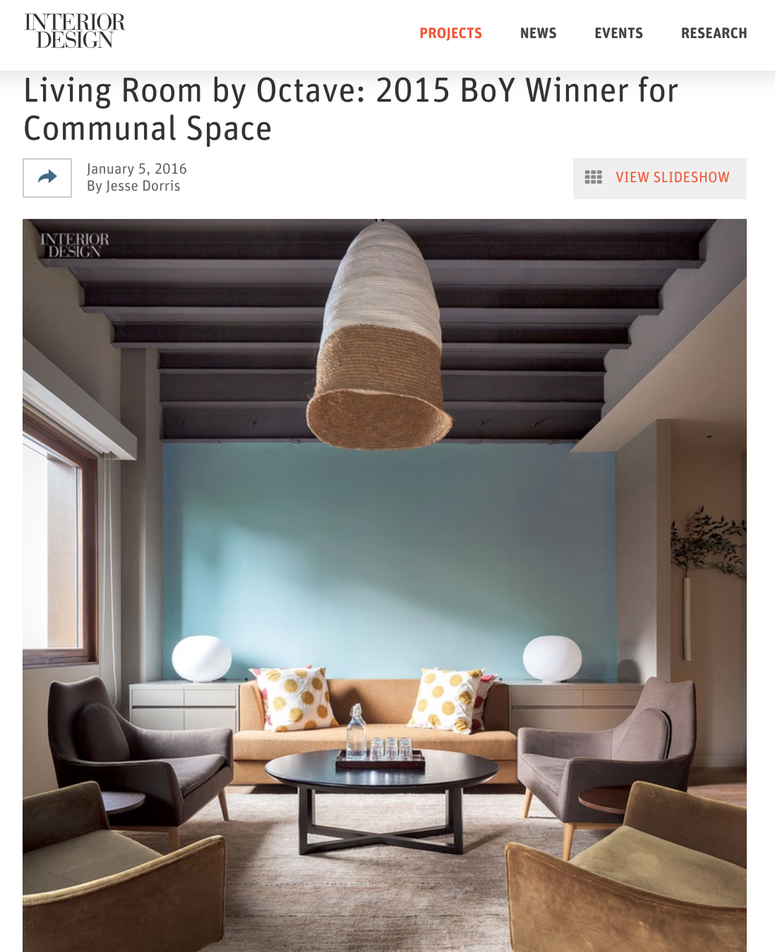 【Award】2015 Best of Year Award Communal Space - The Living Room by Octave - Congratulations Tsao & McKown Architects for winning the Communal Space category of 2015 Best of Year Award by Interior Design with their project in Shanghai, The Living Room by Octave!
