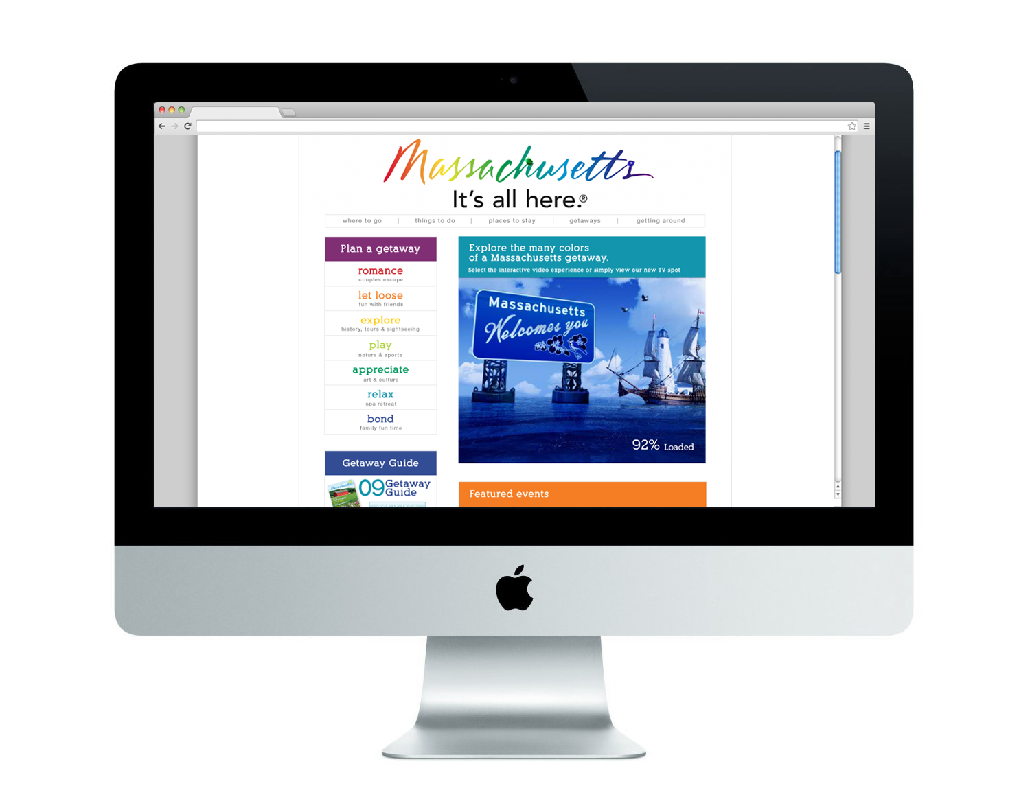 Mass Office of Travel and Tourism Homepage Redesign | Web Developer: Dan Gullotti