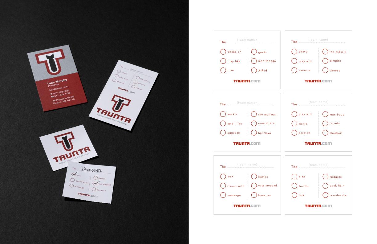 Perforated Business Cards with Personalized Taunt