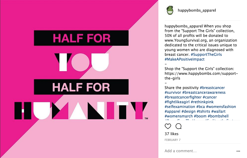 Instagram post from Support the Girls campaign
