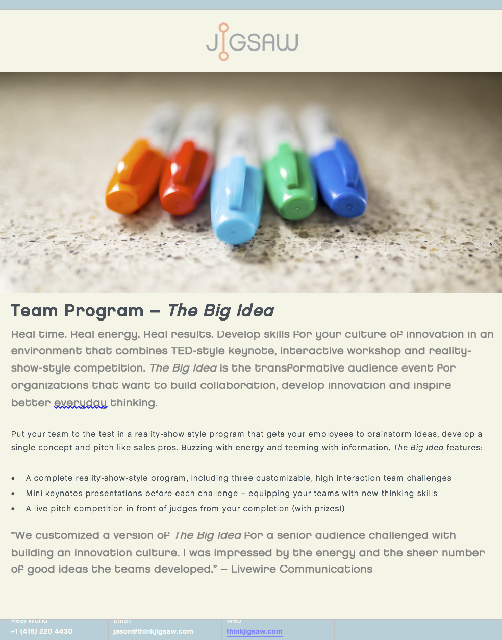 The Big Idea by Jigsaw – 416 220 4430