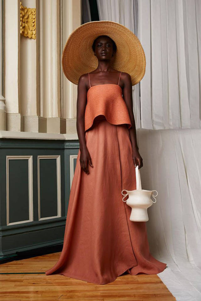 Rosie   Assoulin        This is phenomenal; the color,   flowy   shape and the large brimmed hat, I seriously love it all. It makes me want to sip   Bellinis   on a boat in the Mediterranean. It's so chic and comfortable looking too!