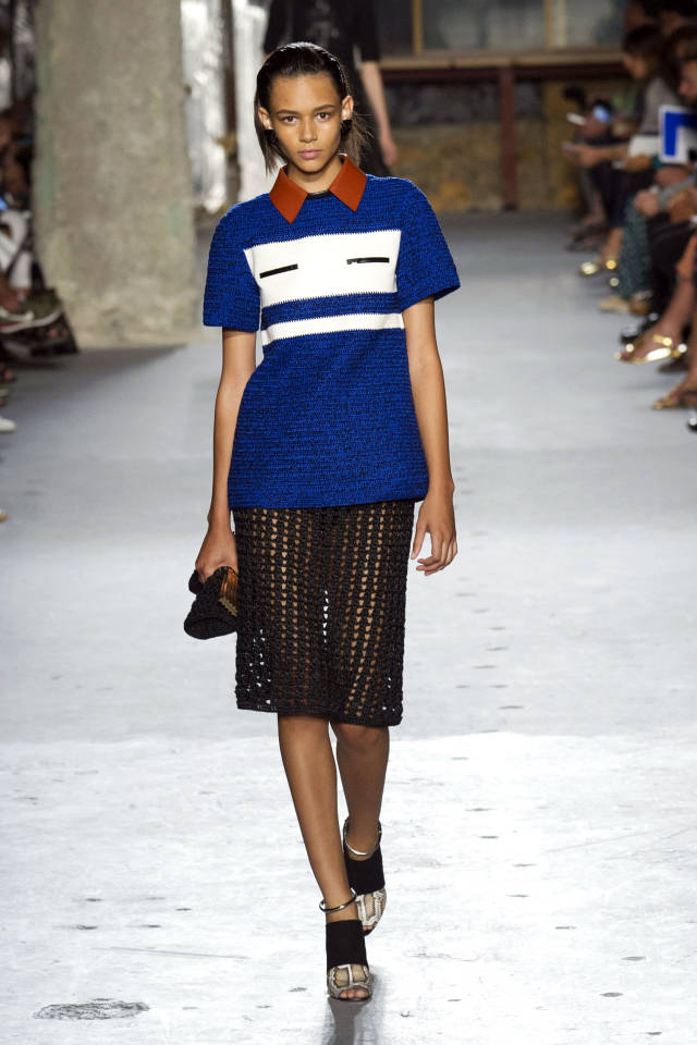 Proenza     Schouler        I loved this almost-preppy look from   Proenza     Schouler  . The beautiful knit sweater and airy skirt combo is fresh with a classic shape.
