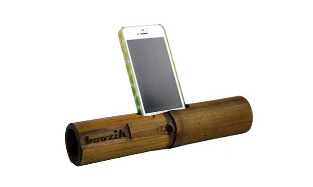 This wireless speaker is made of bamboo for better sound quality. The wood is natural, organic and fair trade and made in Thailand!
