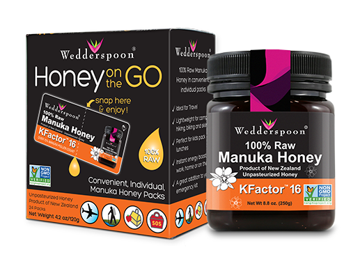 Your friends and family will love the Manuka Essentials Gift Set, which contains Wedderspon's signature Manuka Honey KFactor 16 in both an 8.8 oz. jar and convenient, individual On-the-go packs! The perfect gift for the Manuka-curious!