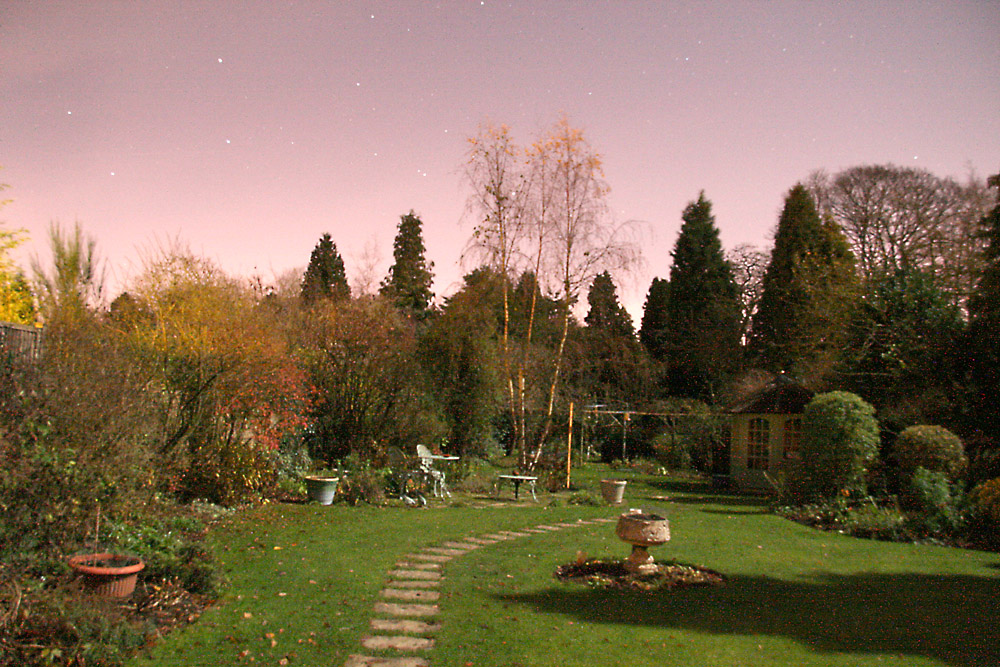 Our garden taken by moonlight with stars of Ursa Major visible. Canon EOS 400, 2 min at F5.6 with noise reduction. David Godwin