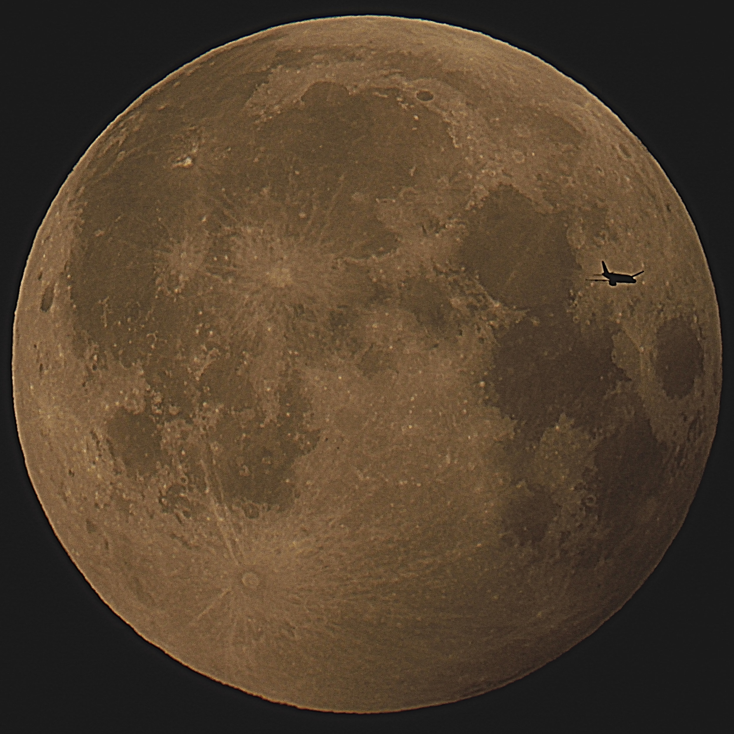 Moon with plane - by Kevin Hodgson