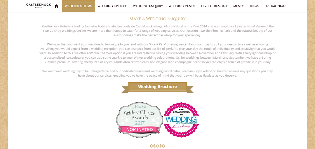 Homepage for 'Weddings' Section -