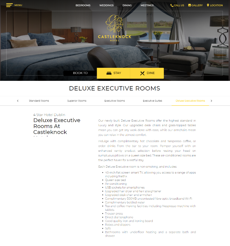 Deluxe Executive Bedroom Description -