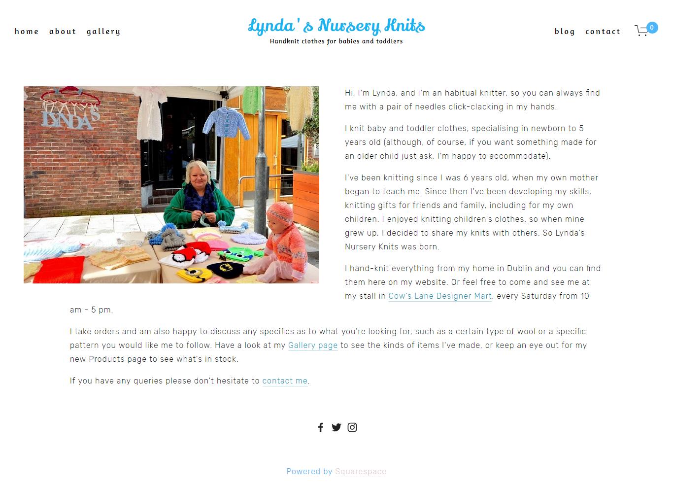 Lynda's Nursery Knits About Page -