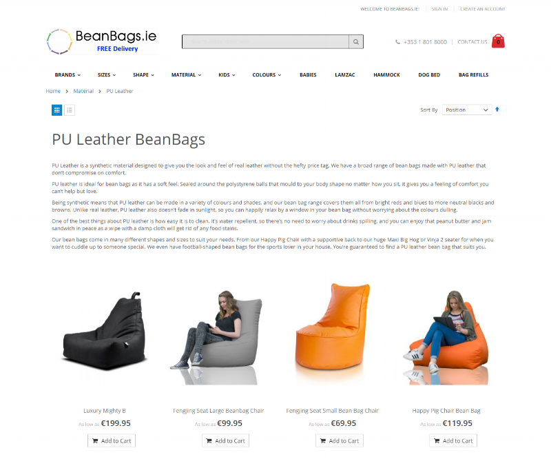 PU Leather Bean Bags -