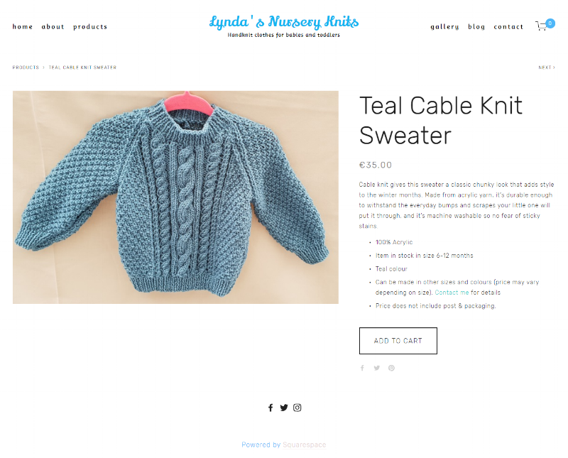 Teal Cable Knit Sweater -