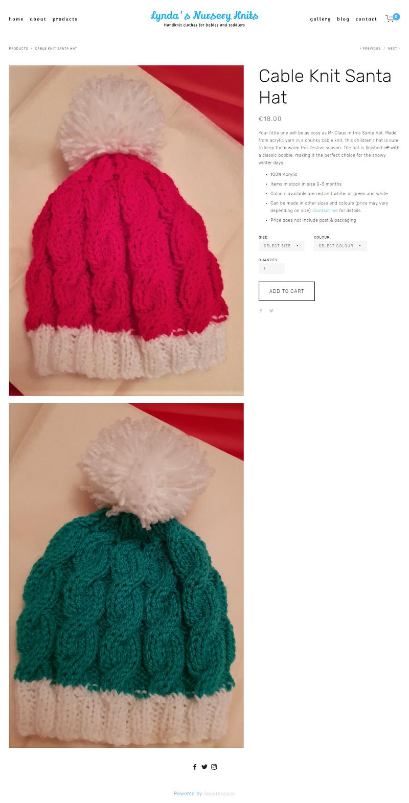 Cable Knit Santa Hat -