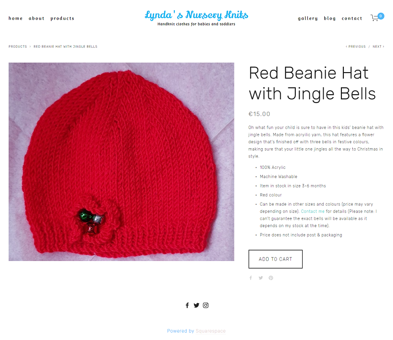 Red Beanie Hat with Jingle Bells -