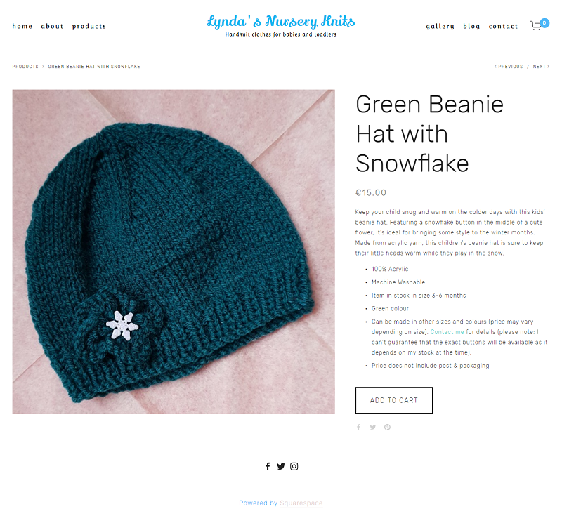Green Beanie Hat with Snowflake -