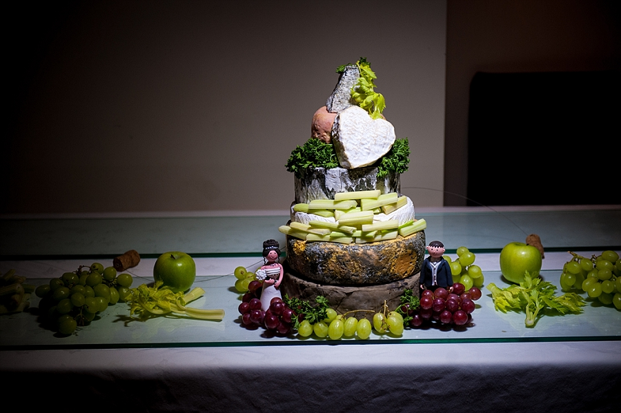 Wedding cake made of cheese at wedding at The Sandbank in Southend on Sea