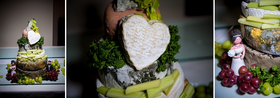Heart shapes cheese on wedding cake
