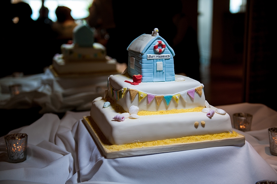 seaside themed wedding cake from wedding at Roslin Beach in Southend Essex