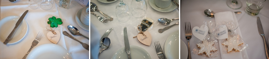 Iced biscuits and cookies. Irish themed with wooden labels and winter wedding themed with heart shaped labels.
