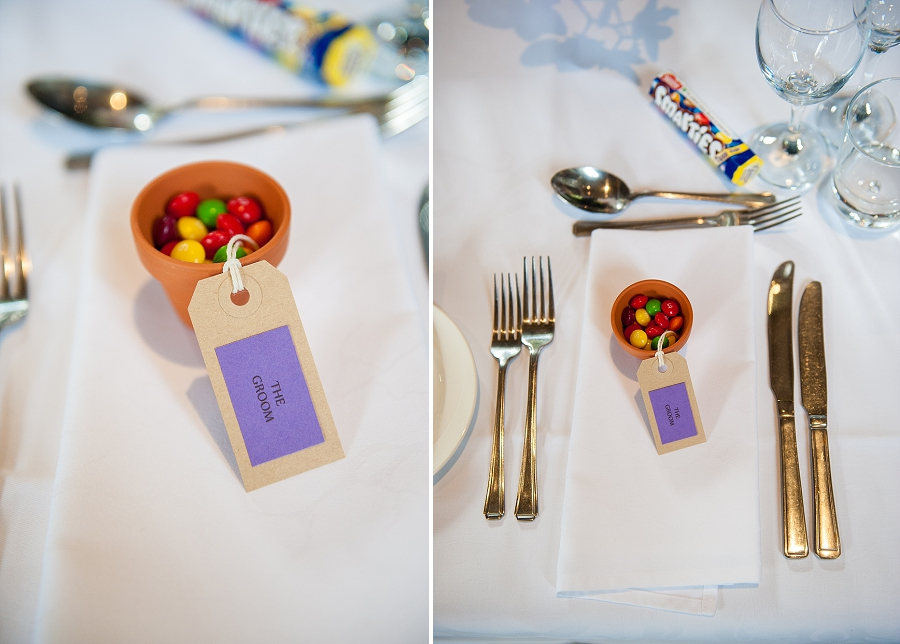 M&M'sin minature pot plants with DIY luggage tag labels
