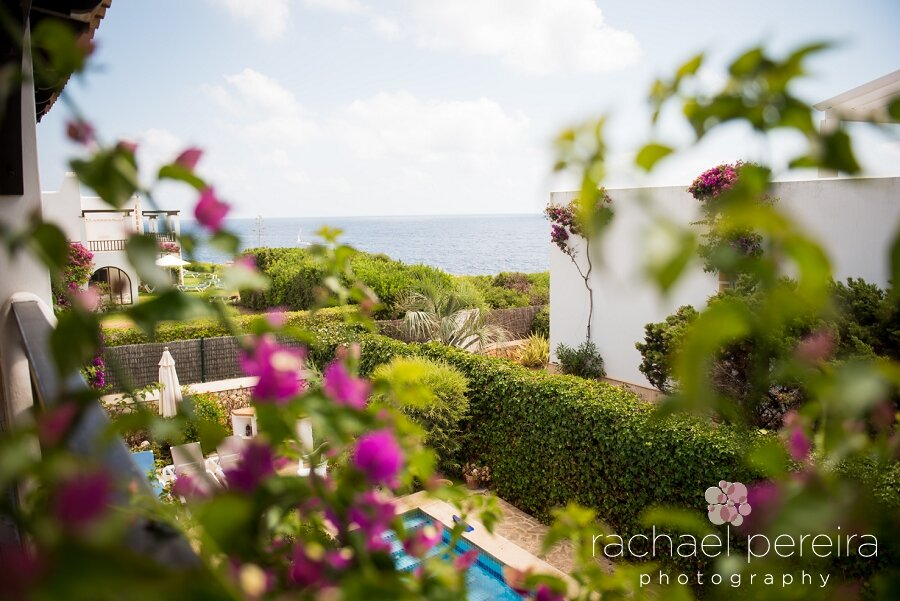 Beautiful views from the upstairs balcony of the villa down to the sea.  It was a gorgeous sunny day and set to be a hot one for Emma and Allan's wedding.