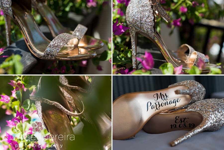 Emma's wedding shoes were gorgeous.  Super sparkly and very high.  I loved the details printed on the soles of each shoe to personalise them for their wedding day.