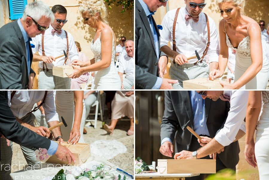 Emma and Allan also incorporated a wine box ceremony into their wedding. The wine was sealed inside a box, together with letters that the couple had written to each other. The wooden lid was nailed in place to seal it until the couple open the box on a future wedding anniversary when they can enjoy the wine and read the letters they wrote to each other.