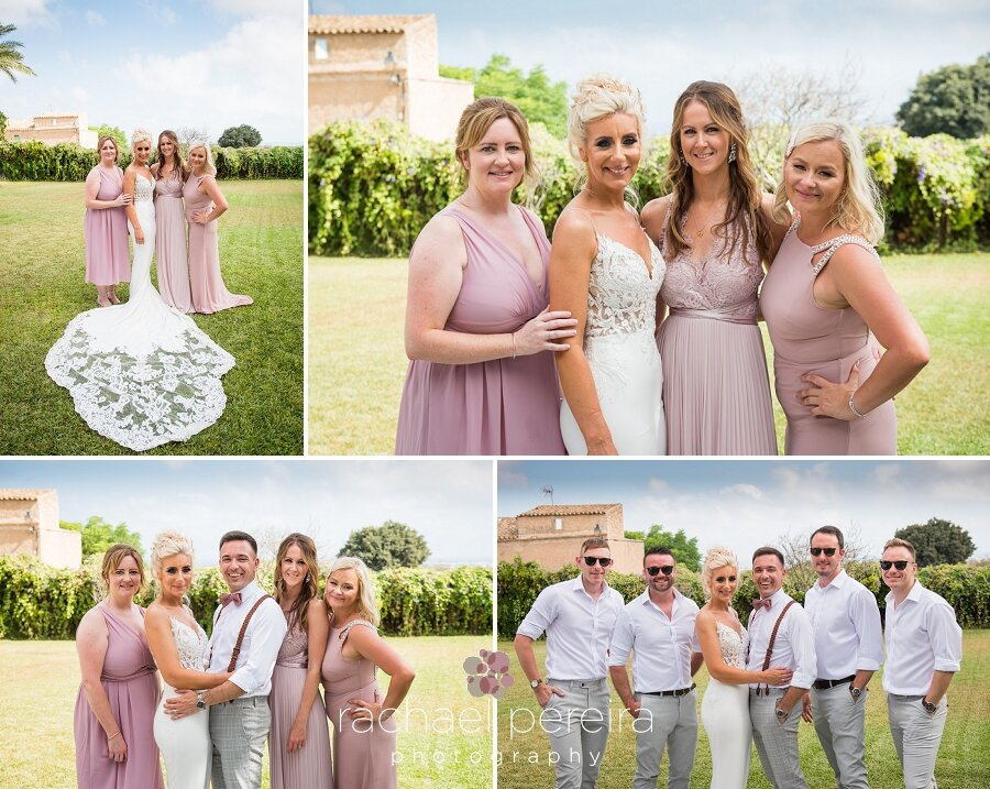 The gardens at Cas Senyor were perfect for the group family photos with the beautiful sea down in Cala D'Or as the backdrop in the distance.  Emma looked stunning in her Enzoani wedding dress from  Brides by Natalie in Liverpool.   The bridesmaids summery pink dresses were from Asos.