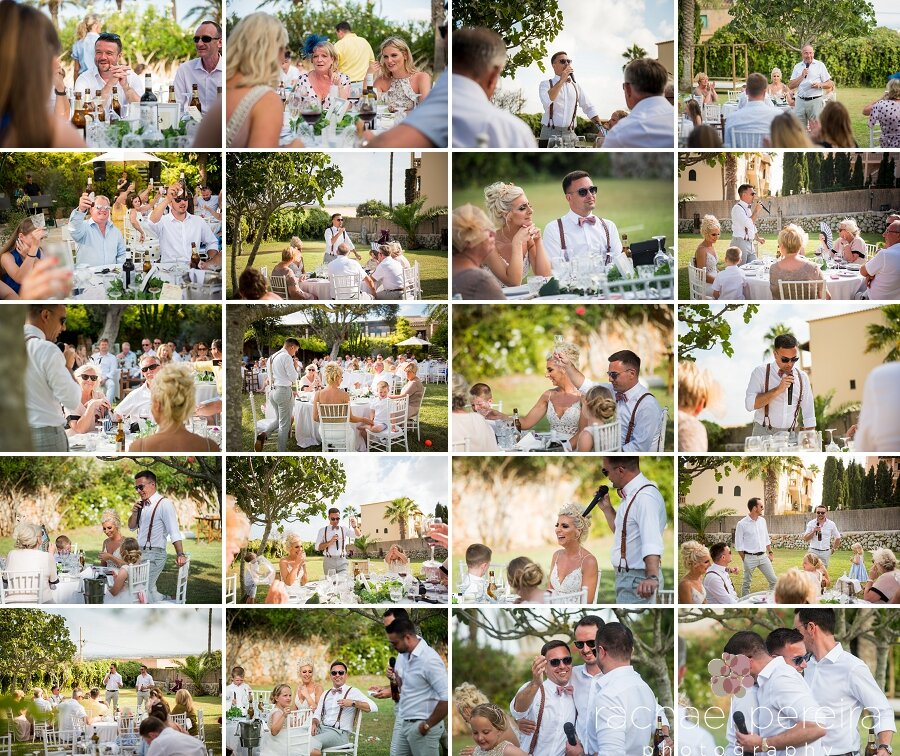 All the tables were set out on the lawn for the BBQ wedding breakfast.  They were simply and tastefully decorated, featuring numbers in Spanish for the table numbers. The speeches were full of humour, emotion and tales of family and friendship.