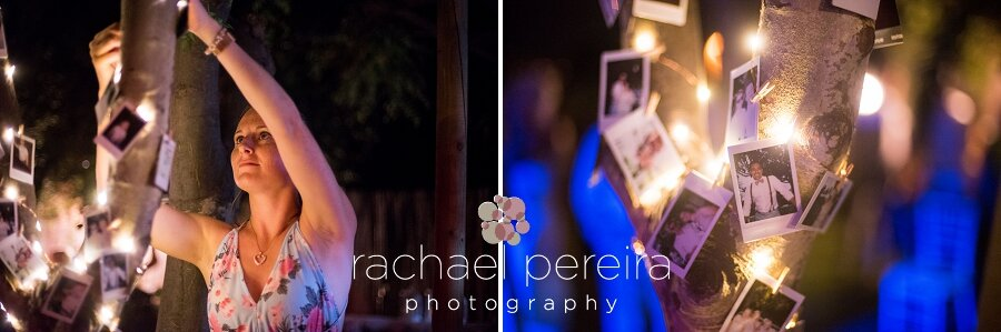 The couple had a polaroid camera for guests to take photos with during the evening.  As each photo popped out of the camera and developed it was added to the photo tree with a peg, which made a beautiful decoration as the night came and the fairy lights lit up the photos.