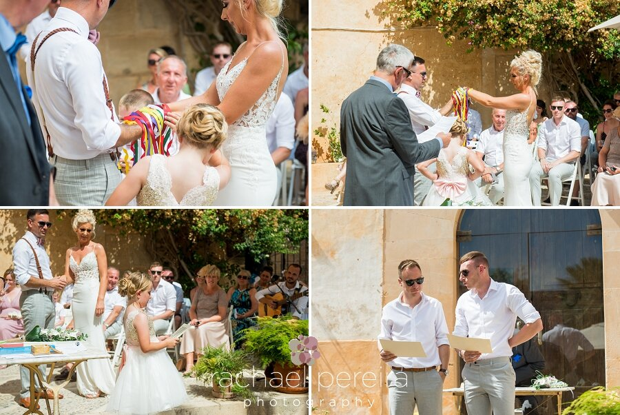 The couple incorporated a hand fasting ceremony with brightly coloured ribbons into their wedding.  The groom's daughter and the couple's brothers all gave readings during the ceremony before being announced as husband and wife, which was sealed with a kiss.