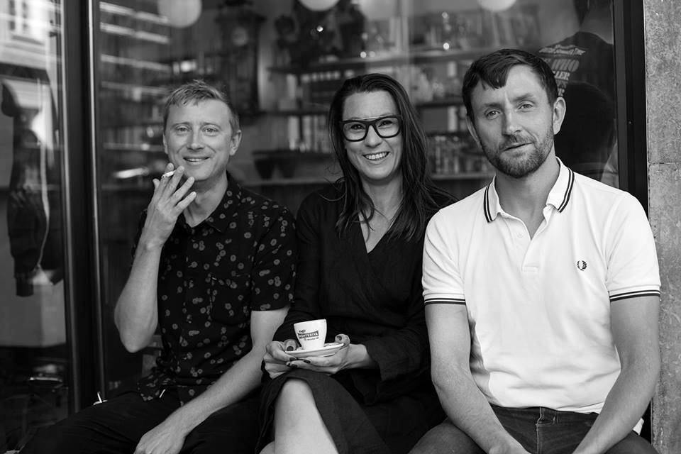 The Artword Podcast Team: Music for the podcast by Rasmus Thord, founder and host Jenny Danielsson is in the middle, and audio engineer Eric Persson.Photo:Calle Ljungström