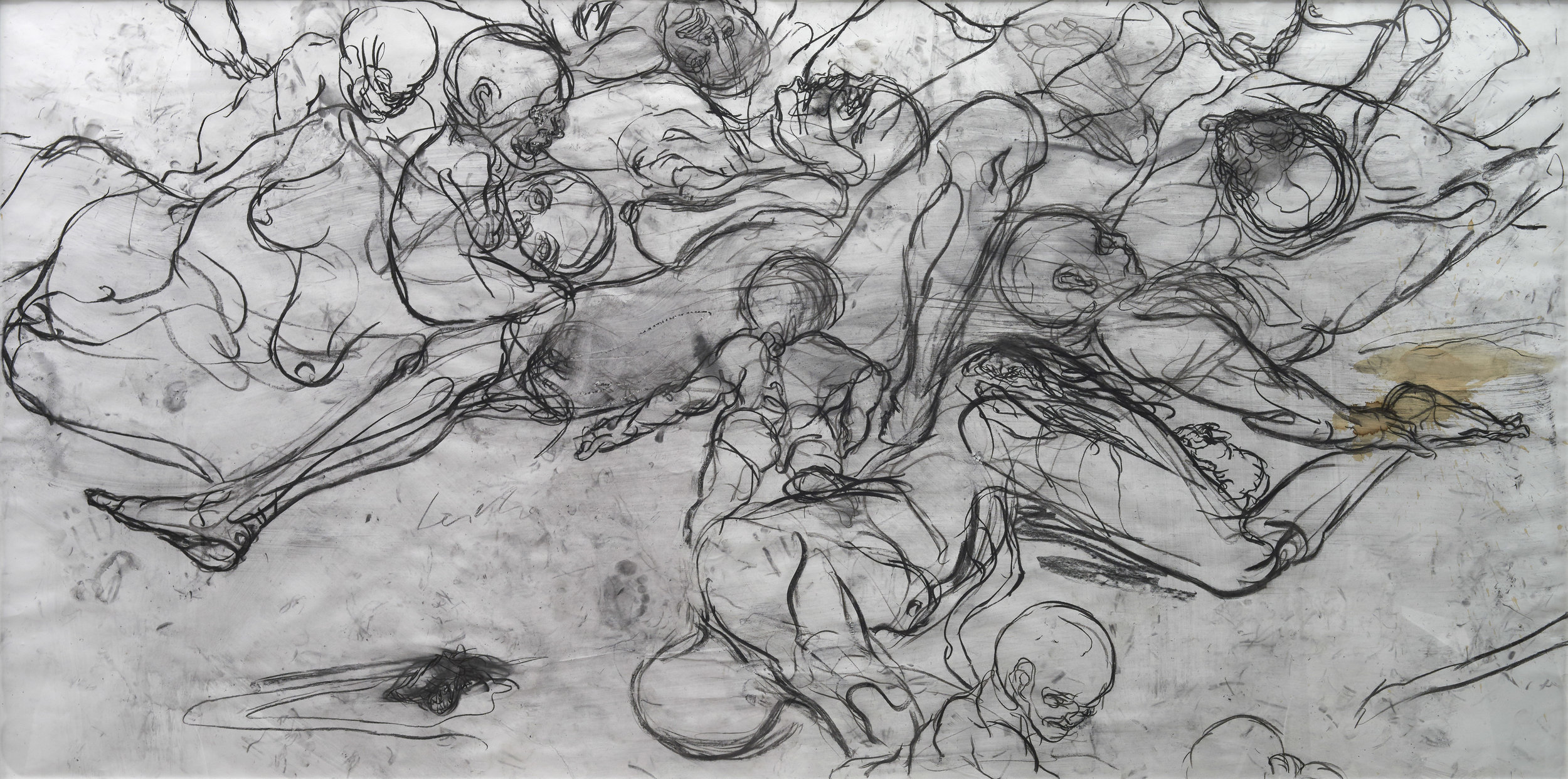 Dante's Dream (detail), 2010. Charcoal on paper, 1,5 x 3 m.
