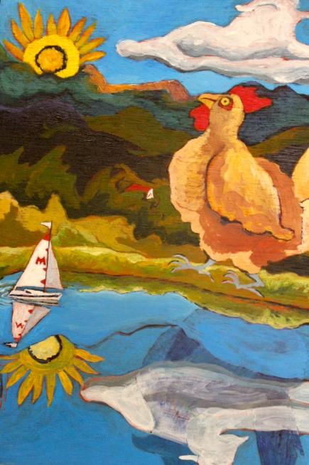 Margot Richardson, Chicken Regatta, Acrylic, $200.jpg