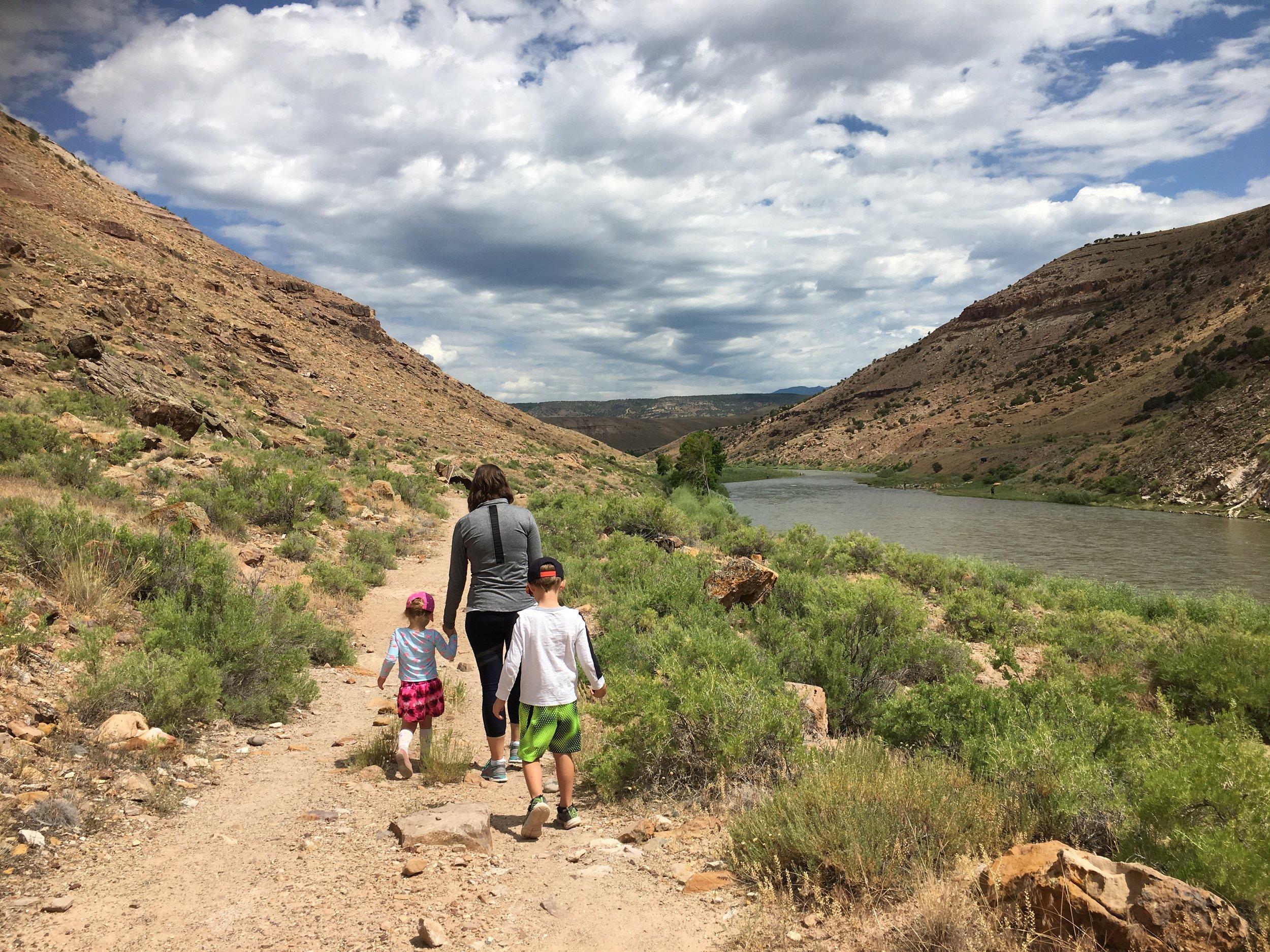 Eric McMaster's family: Kim, Rivers + Edith walking along the Gunnison River.
