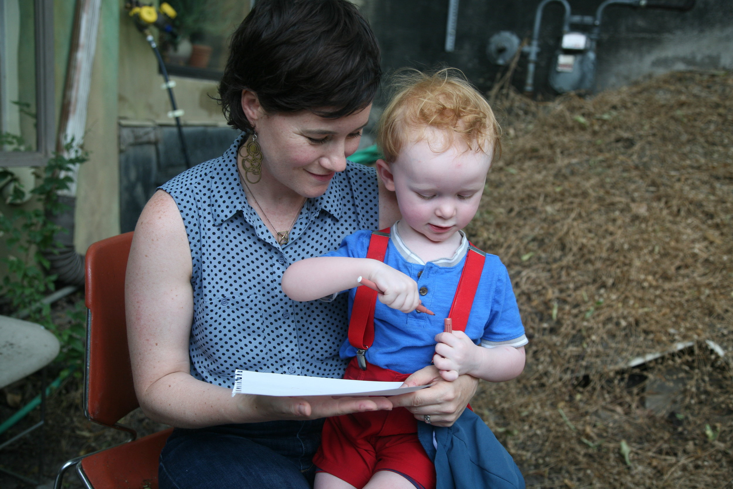 Resident Brigid McAuliffe and her son Sebi. While in residence Brigid worked on a multimedia storytelling project will explore human connection, values, identity, and history of food in the North Fork Valley.
