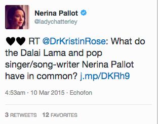 Nerina Pallot Retweets Dr. Kristin Rose - Dalai Lama Post - Action Card Blog