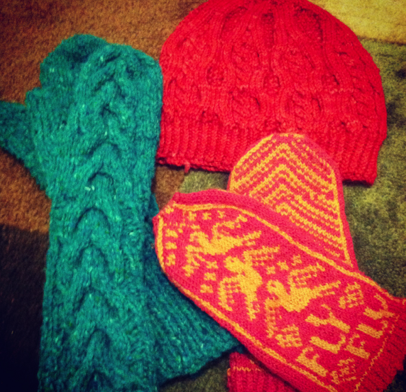 Early Projects: Bella Mittens, Bird in Hand Mittens, and Fisherman's Cable Hat