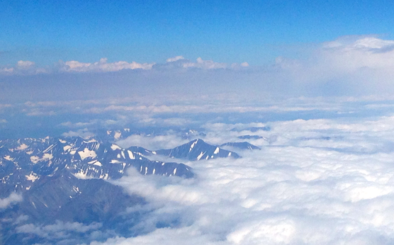 Snow-capped mountains are my favorite way to be greeted.