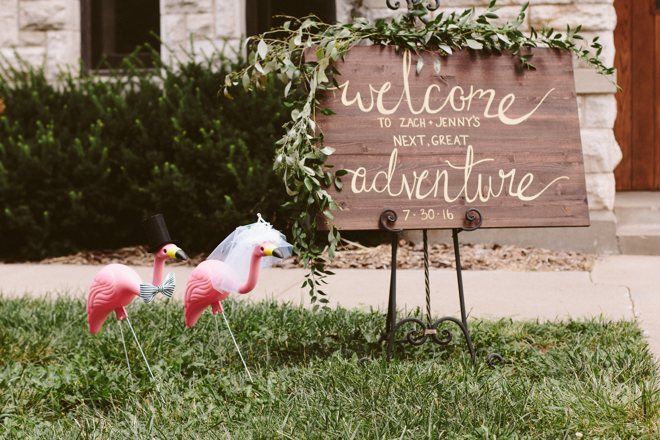 flamingo - wedding welcome sign