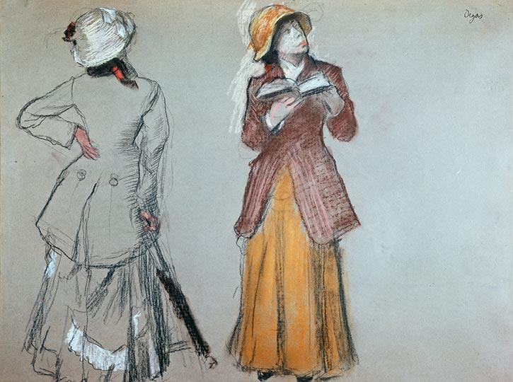 Edgar Degas,  Two Studies of Mary Cassatt at the Louvre , 1879,charcoal and pastel on gray wove paper, Private collection, New York