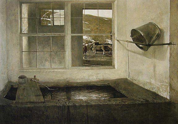 Andrew Wyeth, Spring Fed , 1967, tempera on Masonite Collection of Bill and Robin Weiss © Andrew Wyeth