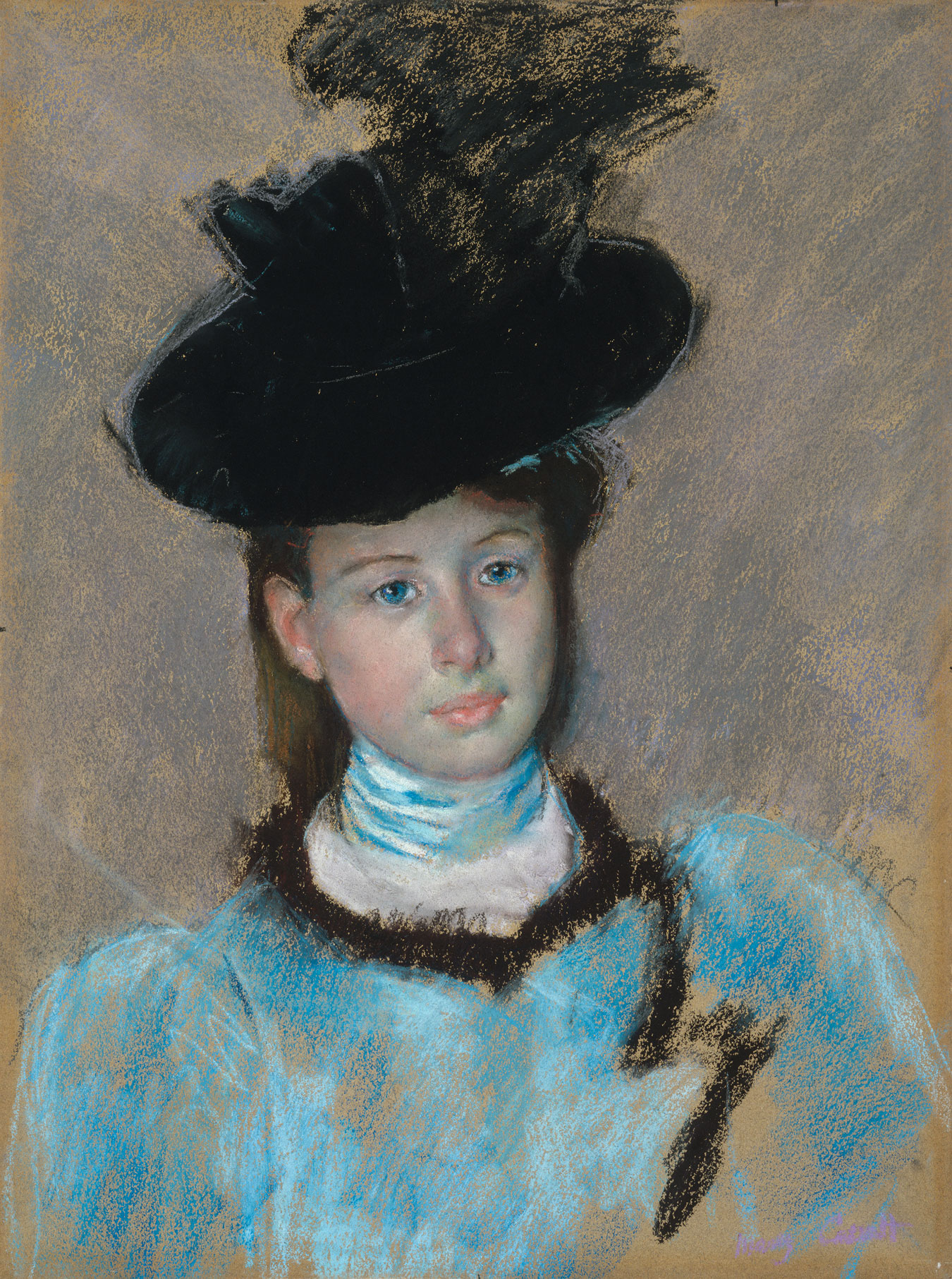 Mary Cassatt, The Black Hat, c. 1890,pastel National Gallery of Art, Washington, Collection of Mr. and Mrs. Paul Mellon